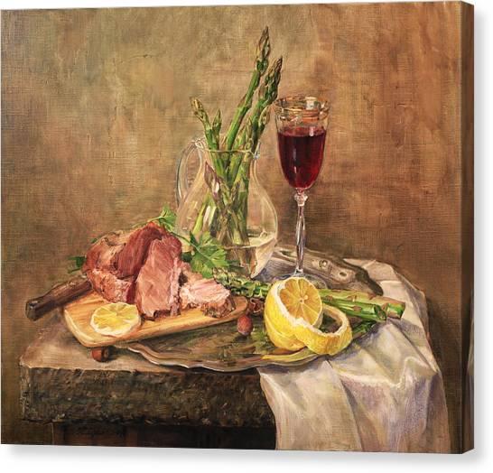 Still Life With Asparagus Canvas Print