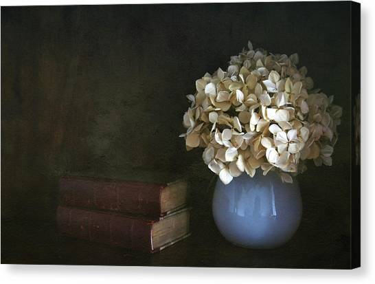 Vase Of Flowers Canvas Print - Still Life With Books And Flowers by Natalia Crespo