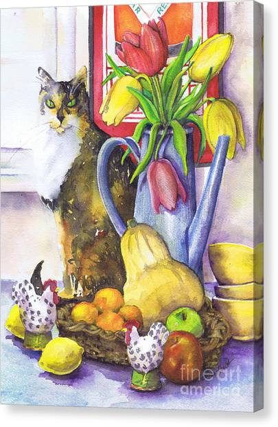 Still Life With Cat Canvas Print by Susan Herbst