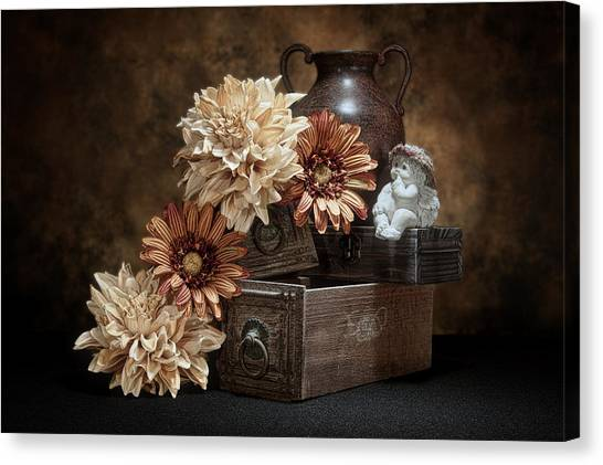 Drawers Canvas Print - Still Life With Cherub by Tom Mc Nemar