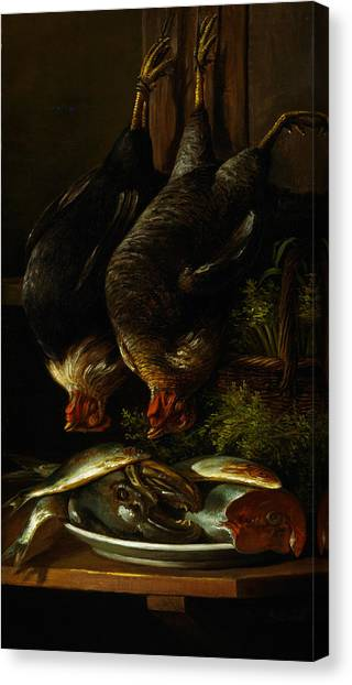 Still Life With Fish Canvas Print - Still Life With Chickens And Fish by Celestial Images