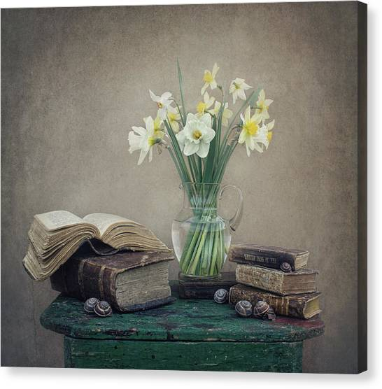 Daffodils Canvas Print - Still Life With Daffodils, Old Books And Snails by Dimitar Lazarov -