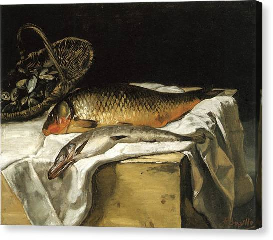 Still Life With Fish Canvas Print - Still Life With Fish by Frederic Bazille