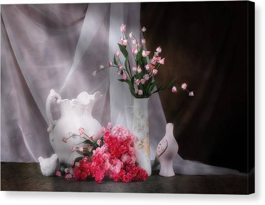 Pitchers Canvas Print - Still Life With Flowers And Birds by Tom Mc Nemar