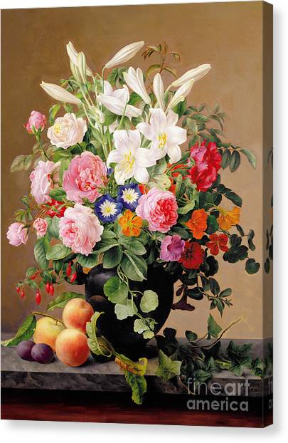 Nasturtiums Canvas Print - Still Life With Flowers And Fruit by V Hoier