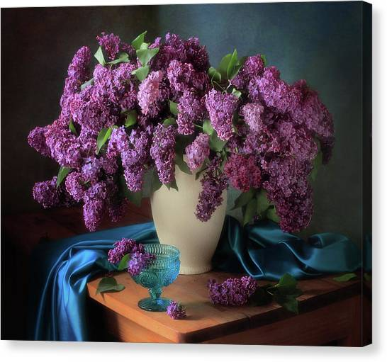 Flower Bouquet Canvas Print - Still Life With Fragrant Lilac by ??????? ????????