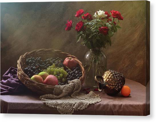 Fruit Baskets Canvas Print - Still Life With Fruit And Roses by Ustinagreen