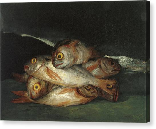 Still Life With Fish Canvas Print - Still Life With Golden Bream by Francisco De Goya