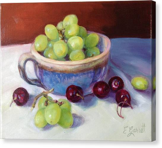 Still Life With Grapes And Cherries Canvas Print