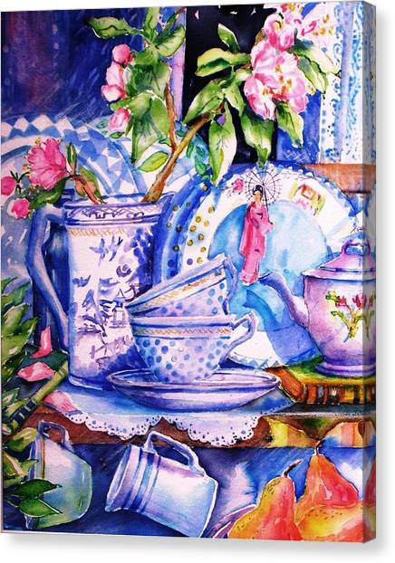 Still Life With  Japanese Plate And Apple Blossom  Canvas Print by Trudi Doyle