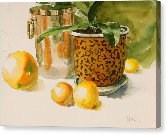Still Life With Lemons And Potted Plant Canvas Print by Pablo Rivera