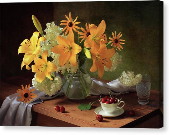Still Life With Lilies Canvas Print by ??????????? ??????????