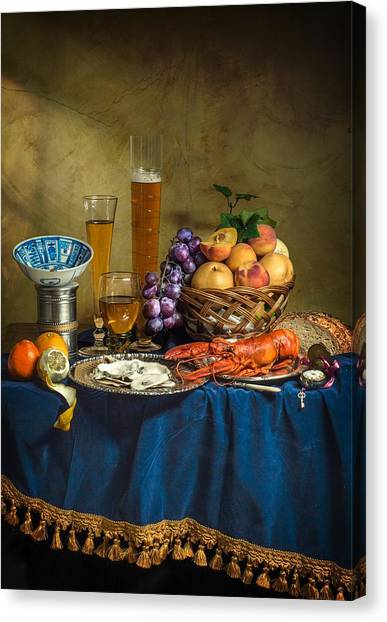 Still Life With Lobster Fruits And Great Salt Canvas Print