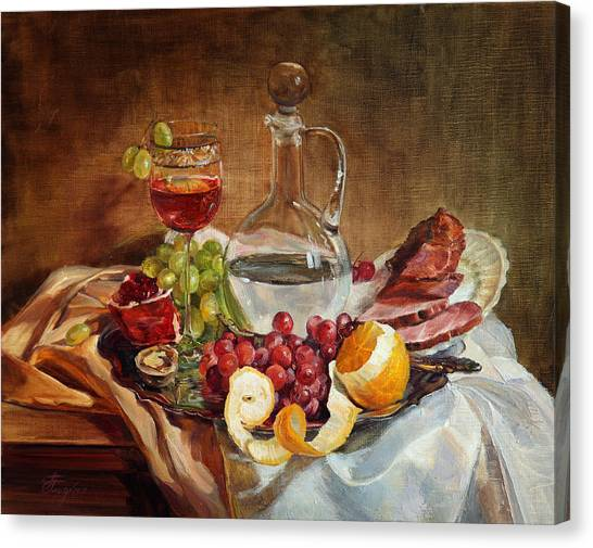 Still Life With Meat And Wine Canvas Print
