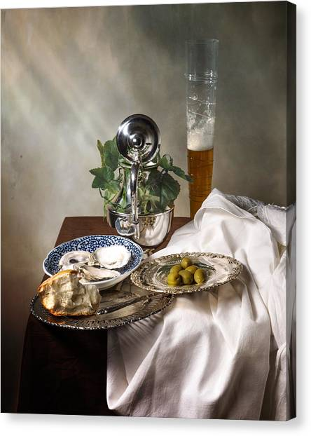 Still Life With Pass Glass-silverware-oysters And Olives Canvas Print