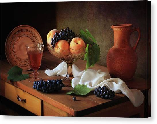 Pitchers Canvas Print - Still Life With Peaches And Grapes by ??????????? ??????????