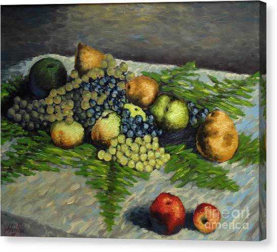 Still Life With Pears And Grapes Canvas Print
