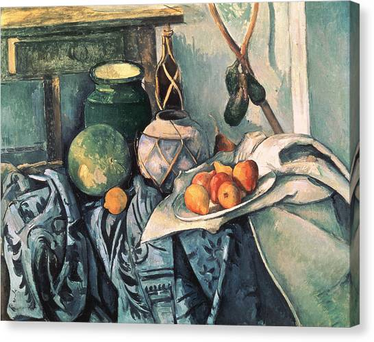 Watermelons Canvas Print - Still Life With Pitcher And Aubergines Oil On Canvas by Paul Cezanne