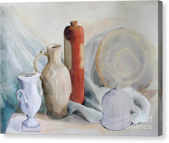 Watercolor Still Life With Pottery And Stone Canvas Print