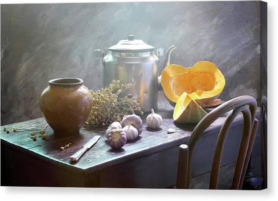 Pumpkins Canvas Print - Still Life With Pumpkin by Ustinagreen