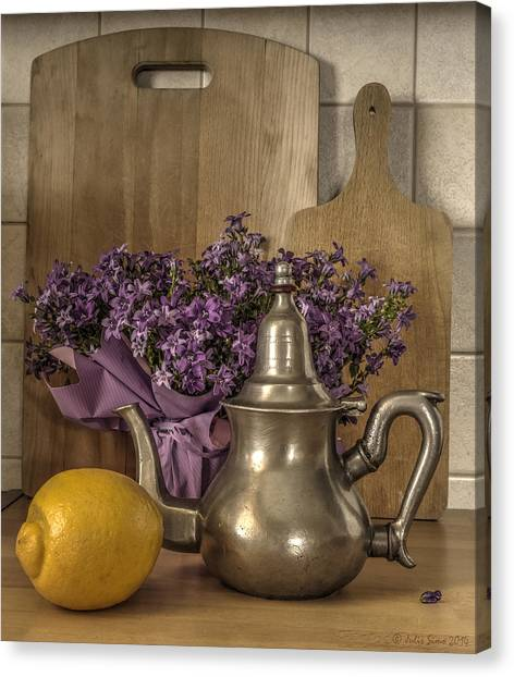 Still Life With Purple Flowers And Citron Canvas Print
