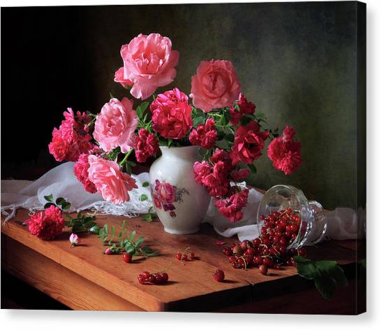 Red Roses Canvas Print - Still Life With Roses And Berries by ??????????? ??????????