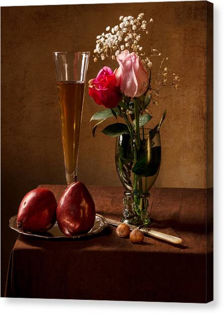Still Life With Roses In Small Roemer And Two Red Pears Canvas Print
