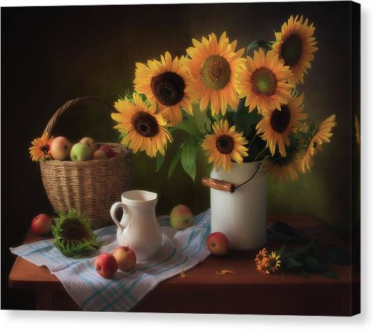 Basket Canvas Print - Still Life With Sunflowers by ??????? ????????