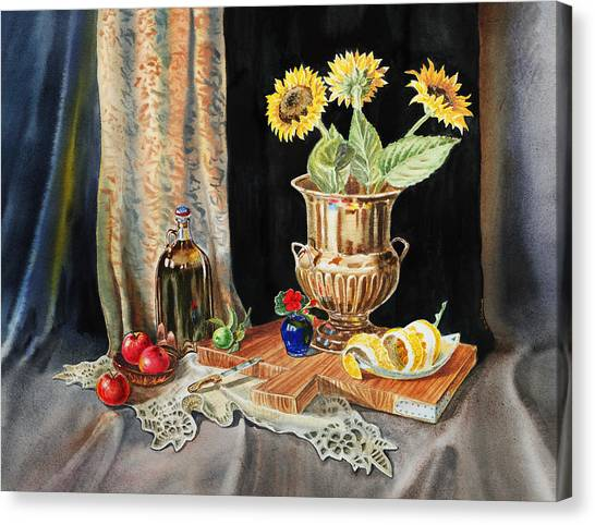 Geraniums Canvas Print - Still Life With Sunflowers Lemon Apples And Geranium  by Irina Sztukowski