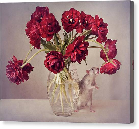 Tongue Canvas Print - Still Life With Tulips :) (expensive Vase.....uploaded For The Weekly Theme expensive by Ellen Van Deelen
