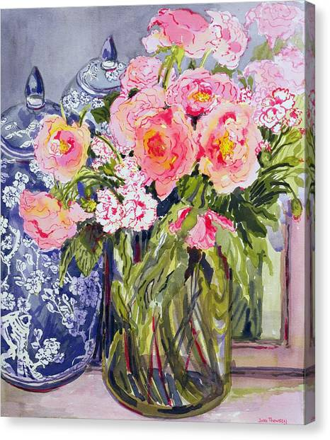 Rose In Bloom Canvas Print - Still Life With Two Blue Ginger Jars by Joan Thewsey