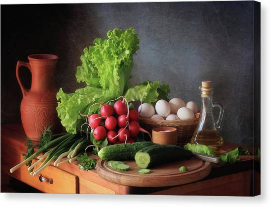 Salad Canvas Print - Still Life With Vegetables by ??????????? ??????????