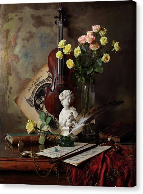 Still Life With Violin And Bust Canvas Print by Andrey Morozov