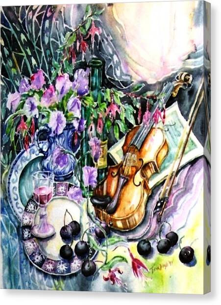Still Life With Violin And Cherries Canvas Print by Trudi Doyle