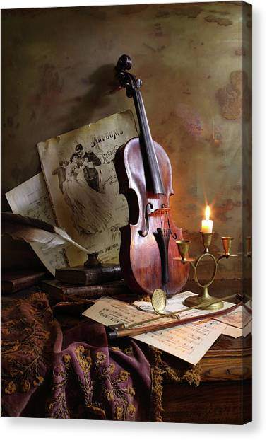 Brass Canvas Print - Still Life With Violin by Andrey Morozov