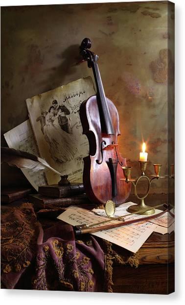 Notes Canvas Print - Still Life With Violin by Andrey Morozov