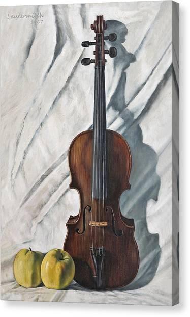 Violin Canvas Print - Still Life With Violin by John Lautermilch