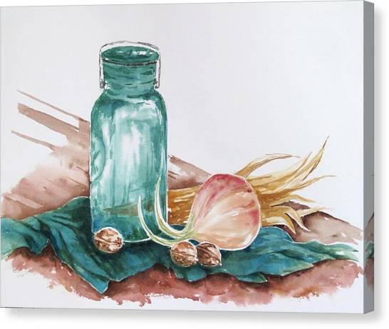 Still Life With Walnuts Canvas Print by Renee Goularte