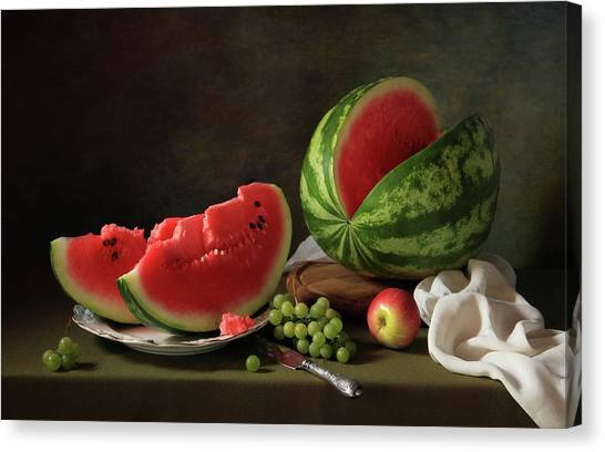 Watermelons Canvas Print - Still Life With Watermelon And Grapes by ??????????? ??????????