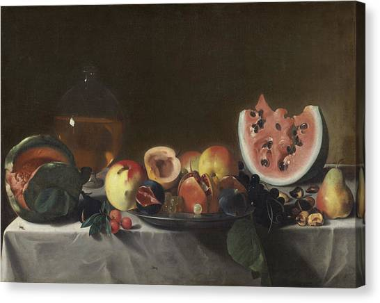Watermelons Canvas Print - Still Life With Watermelons And Carafe Of White Wine by Carlo Saraceni