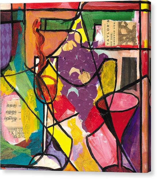 Frank Stella Canvas Print - Still Life With Wine And Fruit B by Everett Spruill
