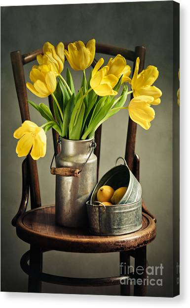 Tulips Canvas Print - Still Life With Yellow Tulips by Nailia Schwarz