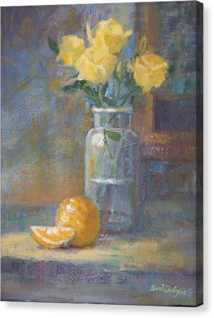 Still Life. Yellow Roses Canvas Print