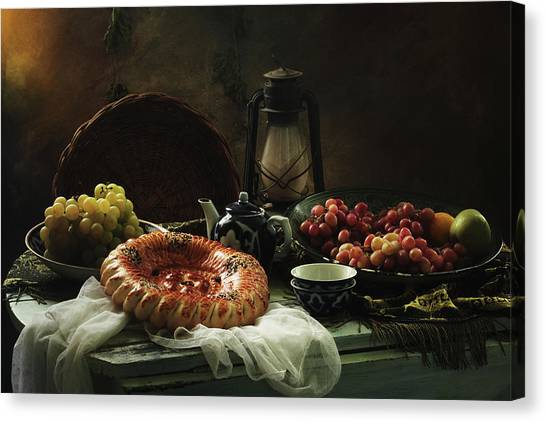 Decoration Canvas Print - Stilllife  With Cake And Grapes by Ustinagreen
