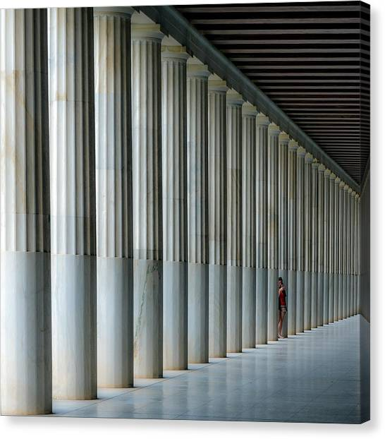 Ancient Art Canvas Print - Stoa Of Attalos by Vasilis Protopapas