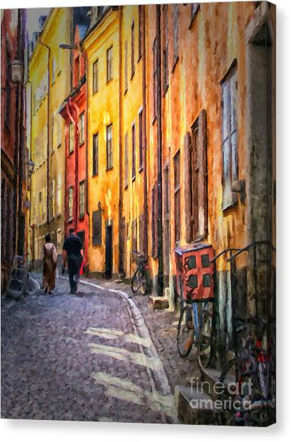 Stockholm Gamla Stan Painting Canvas Print