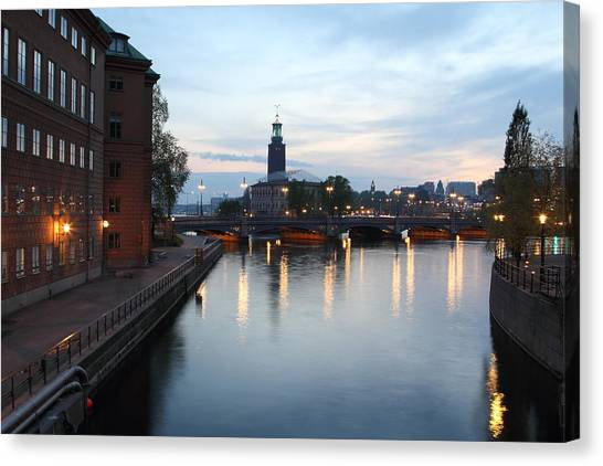 Stockholm Vasabron And The City Hall By Night Canvas Print by Pejft