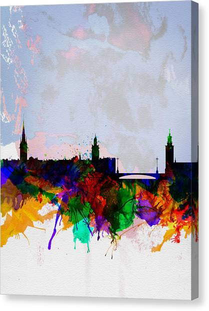 Swedish Canvas Print - Stockholm Watercolor Skyline by Naxart Studio
