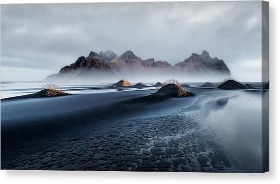Black Sand Canvas Print - Stokksnes by Javier De La