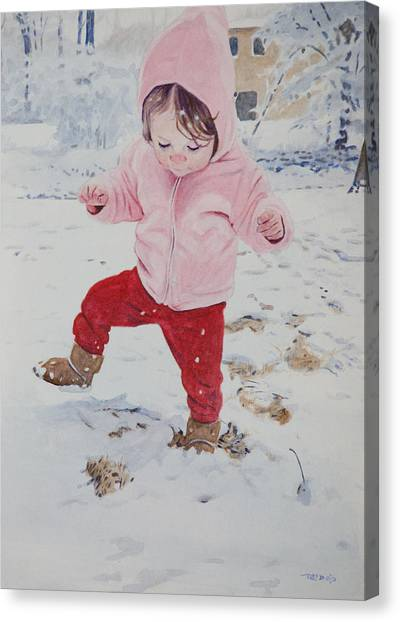 Stomping In The Snow Canvas Print